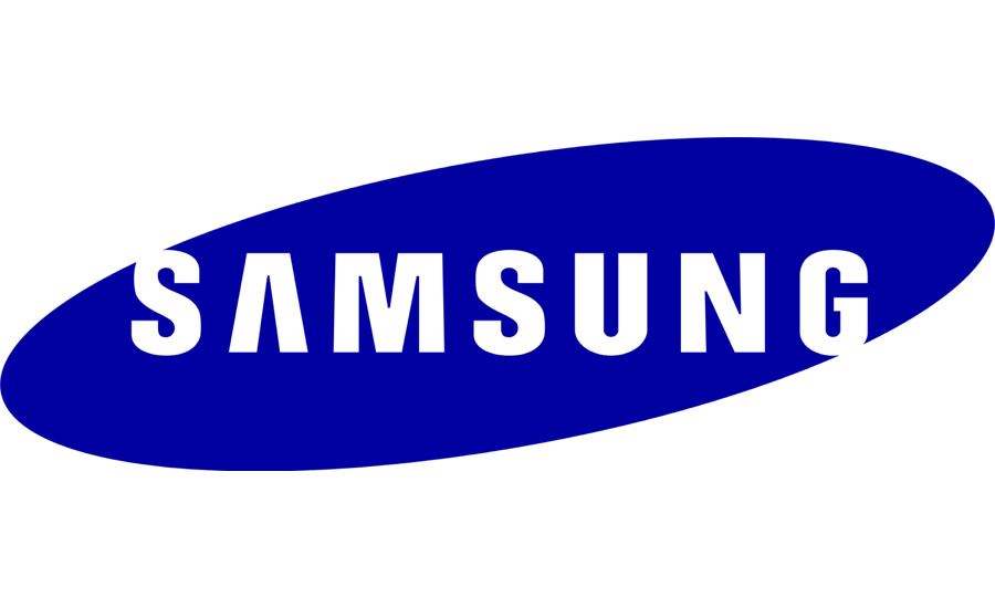 SAMSUNG with blue background